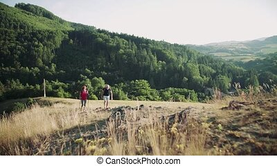 Senior tourist couple with backpacks hiking in nature. Slow motion.
