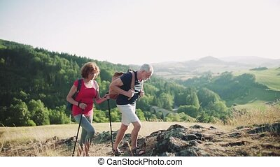 Senior tourist couple with backpacks hiking uphill in nature.