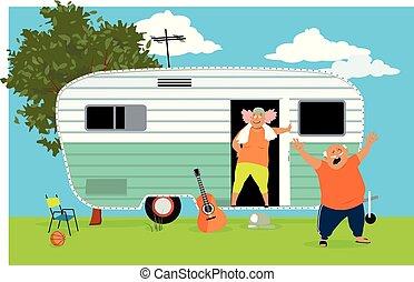 Senior travelers in a trailer