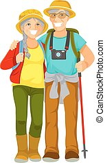 senior travellers - Happy senior couple traveling together