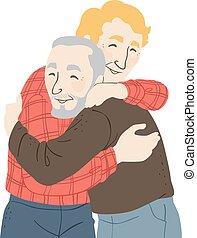 senior, uścisk, ilustracja, człowiek
