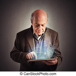 Senior uses tablet