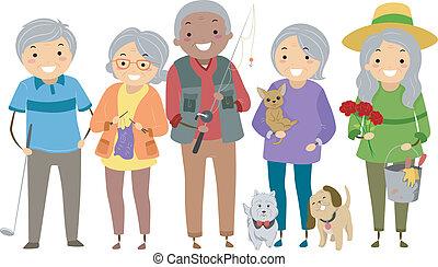 senior városlakó, elfoglaltságok