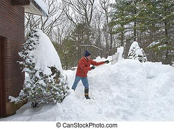 senior városlakó, hó, lapát