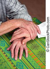 senior, verpleegkundige, vroegere, handen