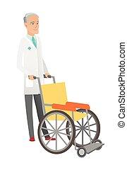 senior, voortvarend, wheelchair., arts, kaukasisch