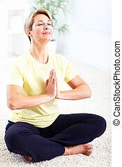 senior, vrouw,  yoga