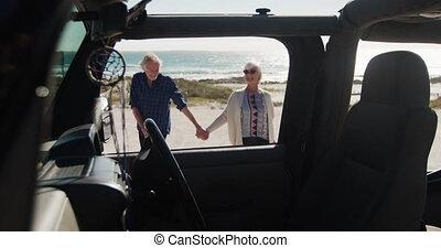 senior, wóz, para, plaża