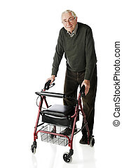Senior-Walker Stroll - A senior man looking at viewer as he ...