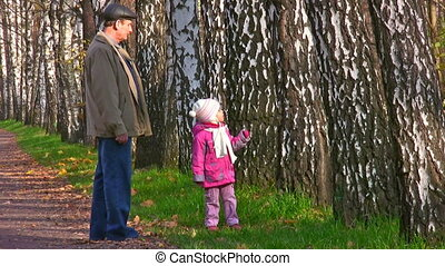 senior with child and birch range - Senior with child and...