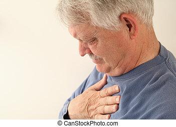 senior with heartburn or chest pain