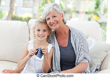 Senior with her granddaughter