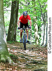 senior with mountain bike bicycle - senior sporty bike with...