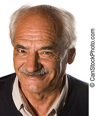 senior with mustache - Elderly senior with mustache on white...