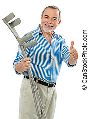 senior with the crutches