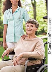 Senior with walking problem