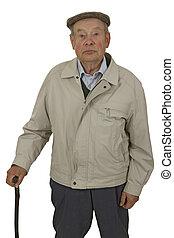 Senior with walking stick