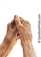 senior, witte , woman\'s, vrijstaand, handen