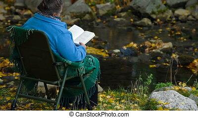 Senior woman and Autumn