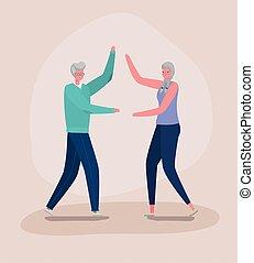 Senior woman and man cartoons dancing vector design