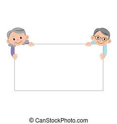 senior woman and senior Man with a cardboard
