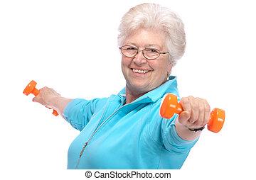 senior woman, arbete, med, vikter, in, gymnastiksal