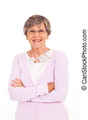 senior woman arms folded isolated on white