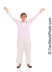 senior woman arms up