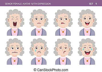 Senior woman avatar with expressions