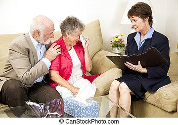Senior Woman Battles Depression - Therapist helps a senior...