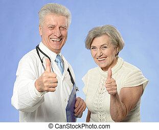 senior woman, besökande, läkare