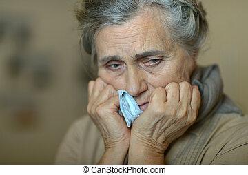 senior woman, beteg