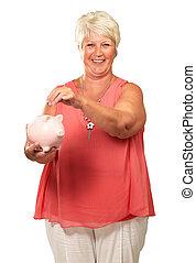 senior woman, birtok, egy, piggybank