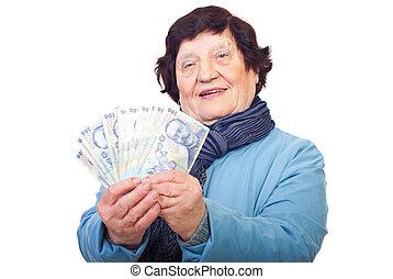 senior woman, birtok, román, pénz