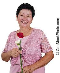 senior woman, boldog
