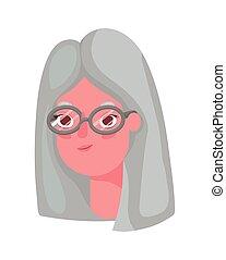 Senior woman cartoon head with glasses vector design