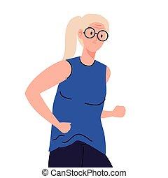 Senior woman cartoon with glasses running vector design