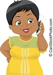 Senior Woman Cellphone - Illustration of a Female Senior...