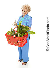 Senior Woman Checks Shopping List