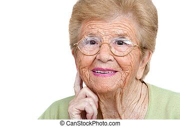 Senior woman close up portrait.