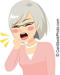 Senior Woman Coughing - Illustration of senior woman...