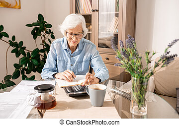 Senior Woman Counting Finances