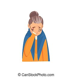 Senior Woman Covering Her Face with Hand, Grandma Making Facepalm Gesture, Shame, Headache, Disappointment, Negative Emotion Vector Illustration