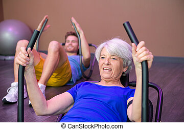 senior woman doing abs workout