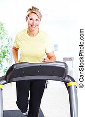 Senior woman doing exercise.
