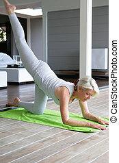 senior woman doing exercises