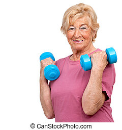 Senior woman doing workout.