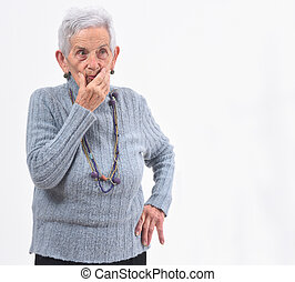 senior woman doubt on white background