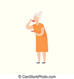 Senior woman drinking tea, grandma with cup of tea vector Illustration on a white background