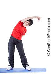 Senior woman during gymnastics